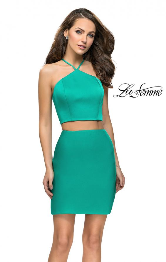 Picture of: Short Two Piece Homecoming Set with Halter Neckline in Jade, Style: 26630, Main Picture