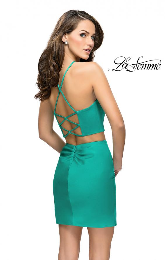 Picture of: Short Two Piece Homecoming Set with Halter Neckline in Jade, Style: 26630, Back Picture