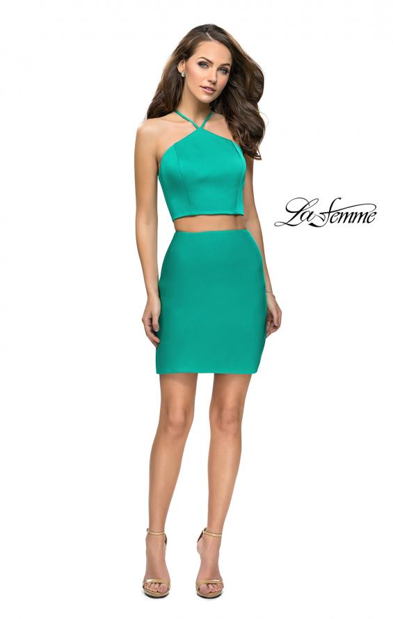 Picture of: Short Two Piece Homecoming Set with Halter Neckline in Jade, Style: 26630, Detail Picture 3