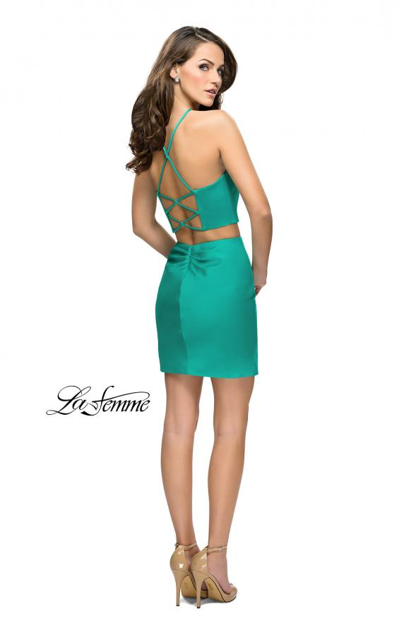 Picture of: Short Two Piece Homecoming Set with Halter Neckline in Jade, Style: 26630, Detail Picture 4