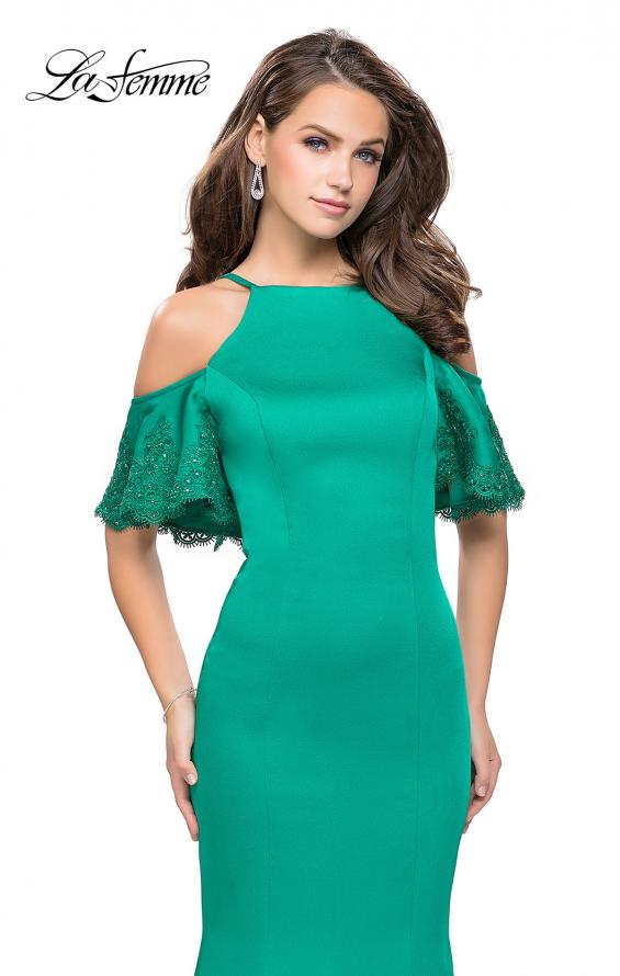 Picture of: Form Fitting Satin Mermaid Dress with Shoulder Cutouts in Jade, Style: 26145, Detail Picture 1