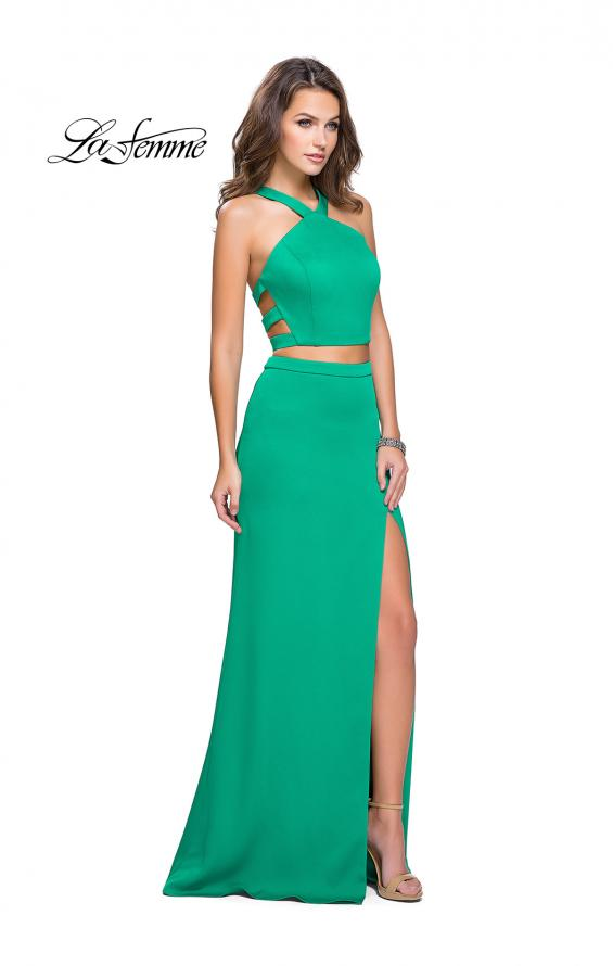 Picture of: Halter Two Piece Satin Prom Dress with Caged Back in Jade, Style: 26171, Detail Picture 1