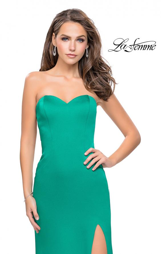 Picture of: Long Strapless Form Fitting Dress with Beaded Straps in Jade, Style: 26253, Detail Picture 2