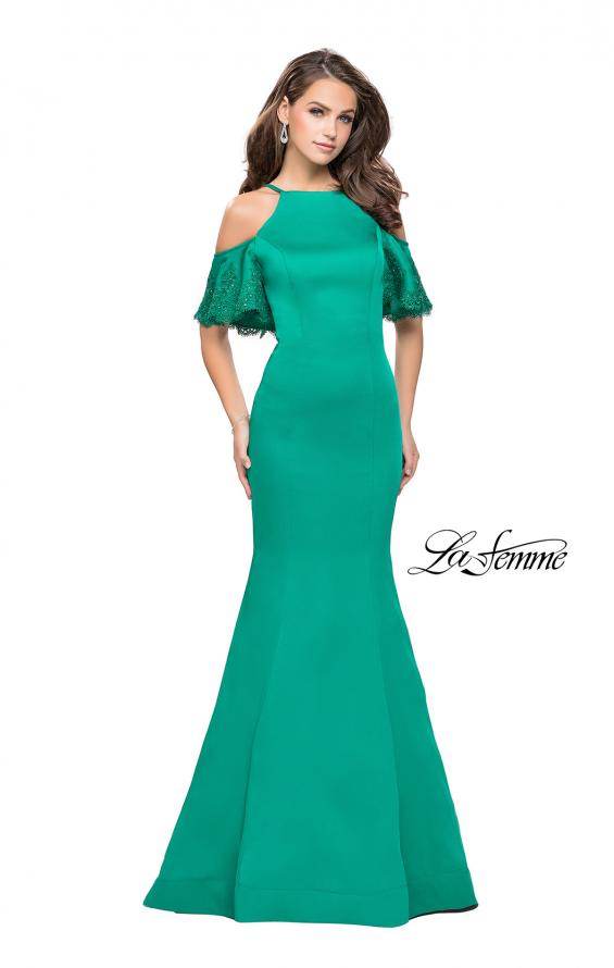 Picture of: Form Fitting Satin Mermaid Dress with Shoulder Cutouts in Jade, Style: 26145, Detail Picture 5