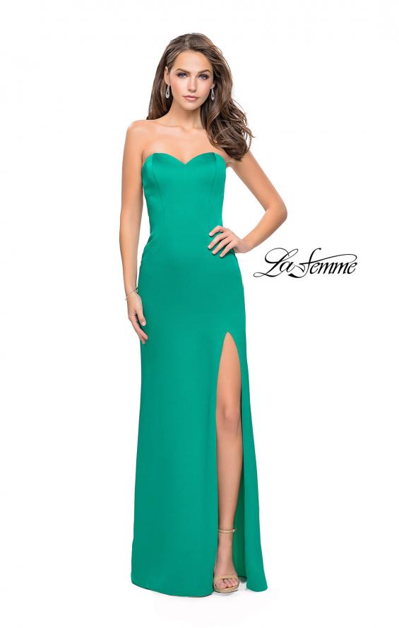 Picture of: Long Strapless Form Fitting Dress with Beaded Straps in Jade, Style: 26253, Detail Picture 5