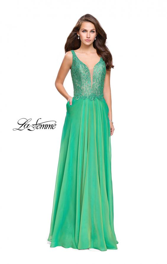 Picture of: Long Evening Gown with Chiffon Skirt and Scoop Open Back in Jungle Green, Style: 25513, Detail Picture 2