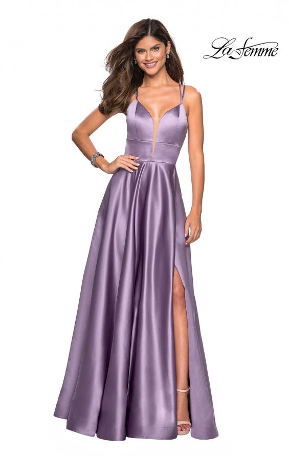 Picture of: Long Satin Formal Gown with Leg Slit and Strappy Back in Lavender Gray, Style: 26994, Main Picture