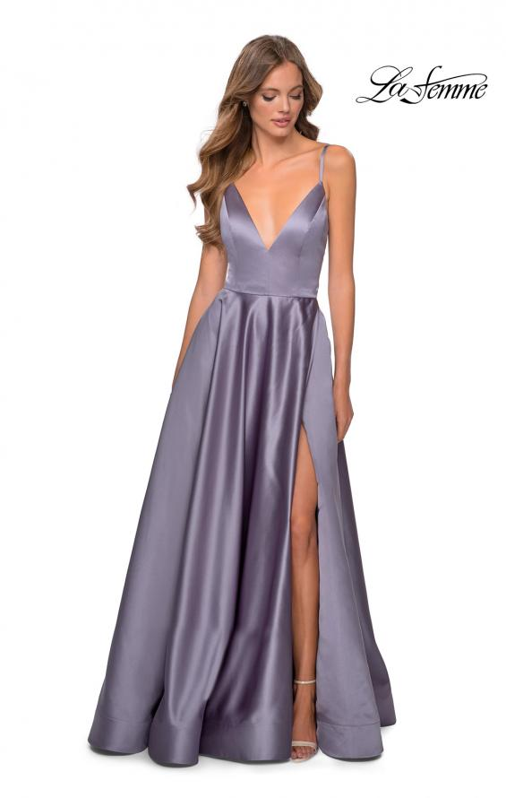 Picture of: V-Neck Satin Prom Dress with Lace Up Back in Lavender Gray, Style: 28628, Main Picture