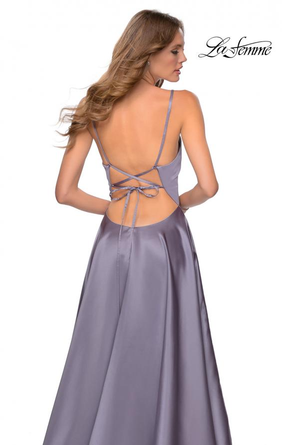 Picture of: V-Neck Satin Prom Dress with Lace Up Back in Lavender Gray, Style: 28628, Detail Picture 10