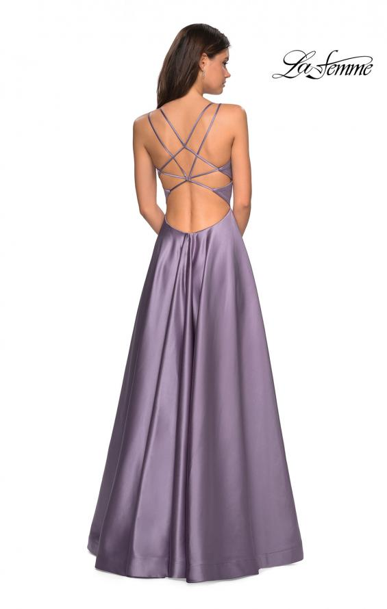 Picture of: Long Satin Formal Gown with Leg Slit and Strappy Back in Lavender Gray, Style: 26994, Back Picture