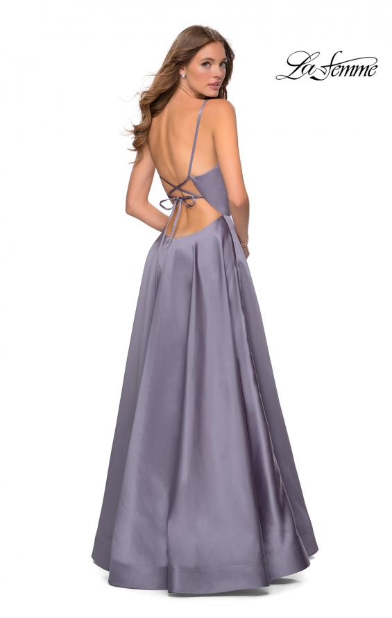 Picture of: V-Neck Satin Prom Dress with Lace Up Back in Lavender Gray, Style: 28628, Back Picture