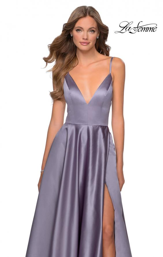 Picture of: V-Neck Satin Prom Dress with Lace Up Back in Lavender Gray, Style: 28628, Detail Picture 4