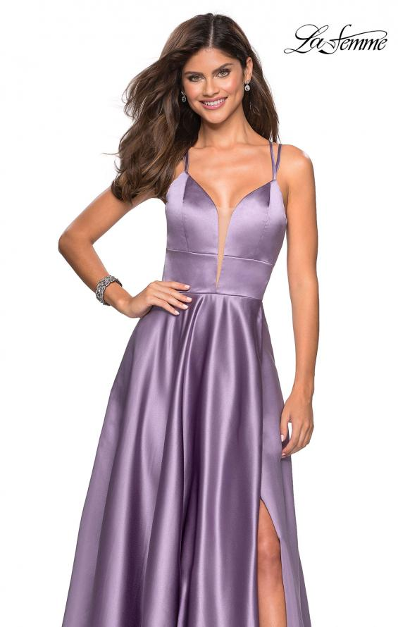 Picture of: Long Satin Formal Gown with Leg Slit and Strappy Back in Lavender Gray, Style: 26994, Detail Picture 7