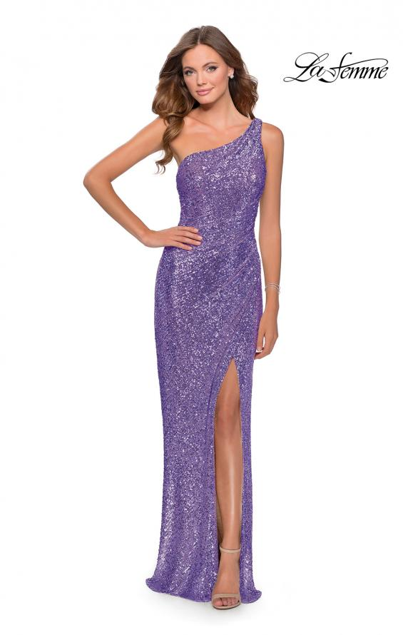 Picture of: Long Sequin One Shoulder Ruched Prom Dress in Lavender Gray, Style: 28401, Detail Picture 7