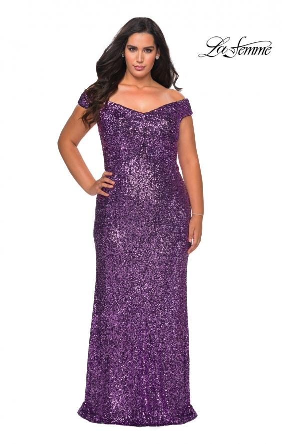 Picture of: Off The Shoulder Sequin Plus Size Prom Dress in Lavender, Style: 28795, Main Picture