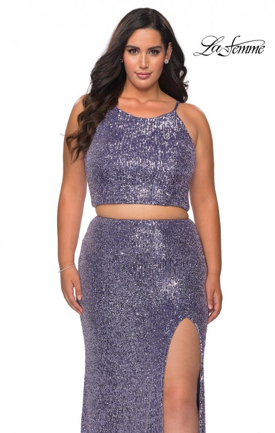 Picture of: Two Piece Long Sequin Plus Size Prom Dress in Lavender, Style: 29026, Main Picture