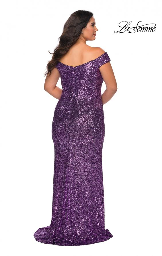 Picture of: Off The Shoulder Sequin Plus Size Prom Dress in Lavender, Style: 28795, Back Picture