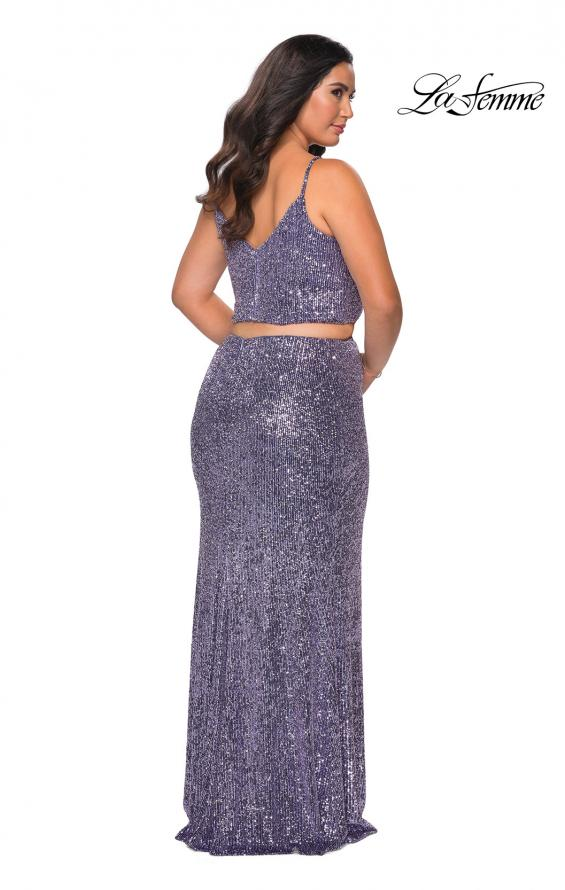 Picture of: Two Piece Long Sequin Plus Size Prom Dress in Lavender, Style: 29026, Back Picture