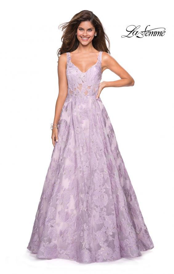 Picture of: Floral A Line Dress with Sheer Bodice and V Back in Lavender, Style: 27505, Main Picture