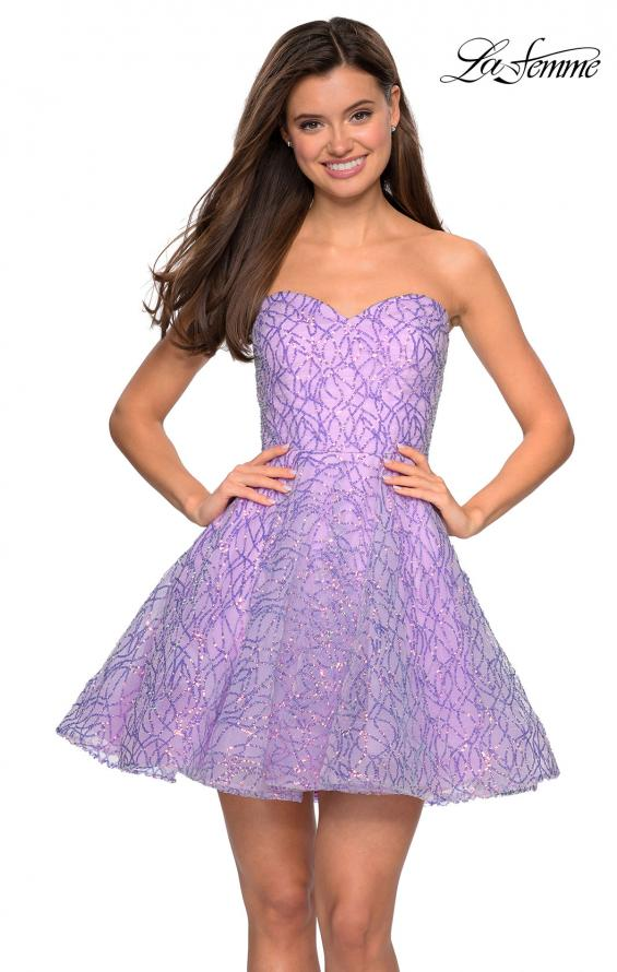Picture of: Short Prom Dress with Sequins and A-Line Skirt, Style: 27517, Main Picture