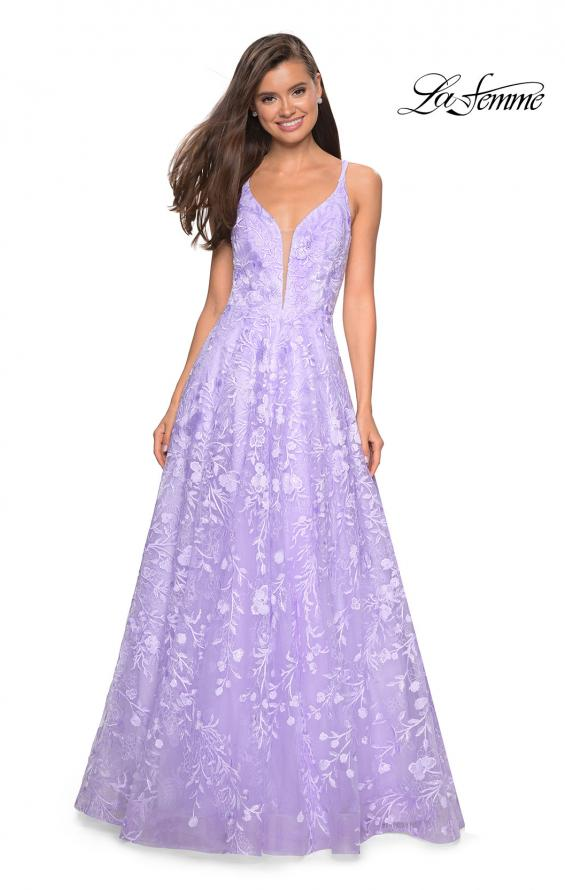 Picture of: Pastel A-Line Floral Prom Dress with Strappy Back in Lavender, Style: 27759, Main Picture
