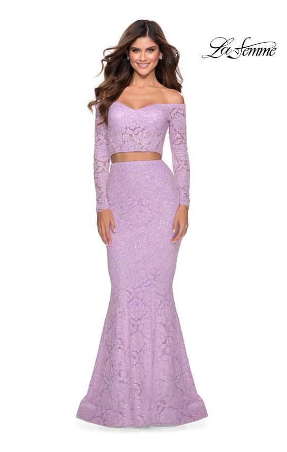 Picture of: Lace Sleeve Lace and Sequin Two Piece Prom Dress in Lavender, Style: 28666, Main Picture