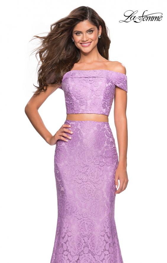 Picture of: Lace Two Piece Off the Shoulder Dress with Rhinestones in Lavender, Style: 27443, Detail Picture 8