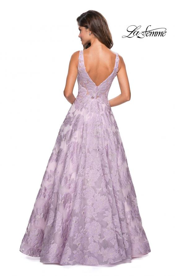 Picture of: Floral A Line Dress with Sheer Bodice and V Back in Lavender, Style: 27505, Back Picture