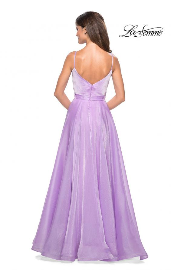 Picture of: Long Metallic Chiffon Dress with Ruching and V Back in Lavender, Style: 27616, Back Picture