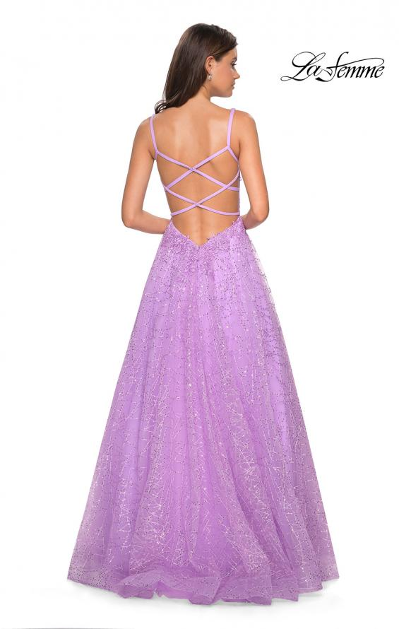Picture of: A-Line Tulle Ball Gown with Strappy Open Back in Lavender, Style: 27719, Back Picture