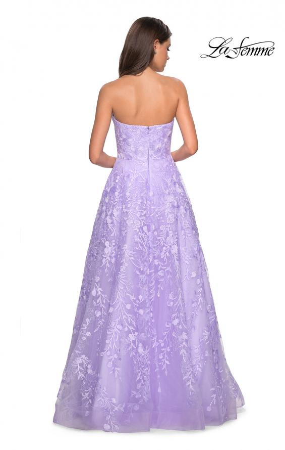 Picture of: Strapless A-Line Gown with Floral Embroidery, Style: 27746, Back Picture