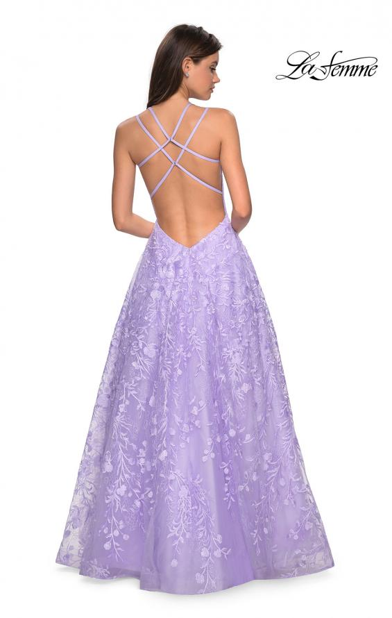 Picture of: Pastel A-Line Floral Prom Dress with Strappy Back in Lavender, Style: 27759, Back Picture