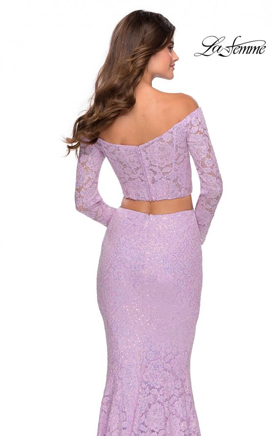 Picture of: Lace Sleeve Lace and Sequin Two Piece Prom Dress in Lavender, Style: 28666, Back Picture