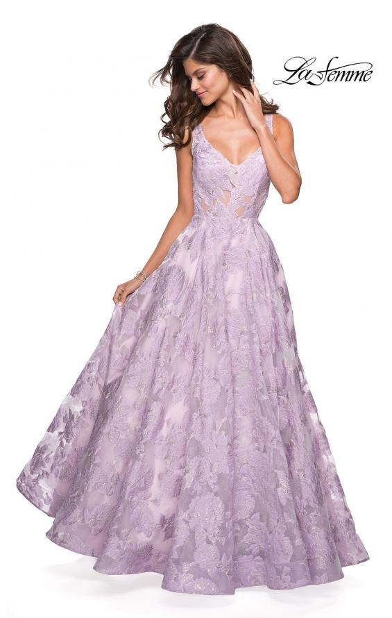 Picture of: Floral A Line Dress with Sheer Bodice and V Back in Lavender, Style: 27505, Detail Picture 1