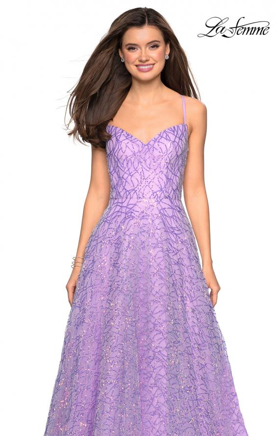 Picture of: Sweetheart Sequin Dress with Criss Cross Straps in Lavender, Style: 27541, Detail Picture 1
