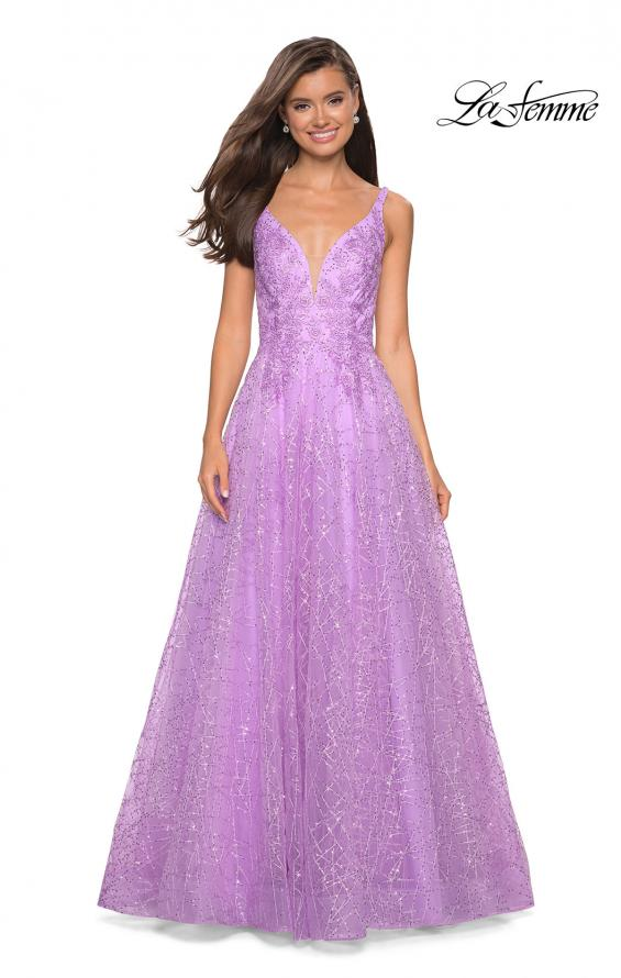 Picture of: A-Line Tulle Ball Gown with Strappy Open Back in Lavender, Style: 27719, Detail Picture 1