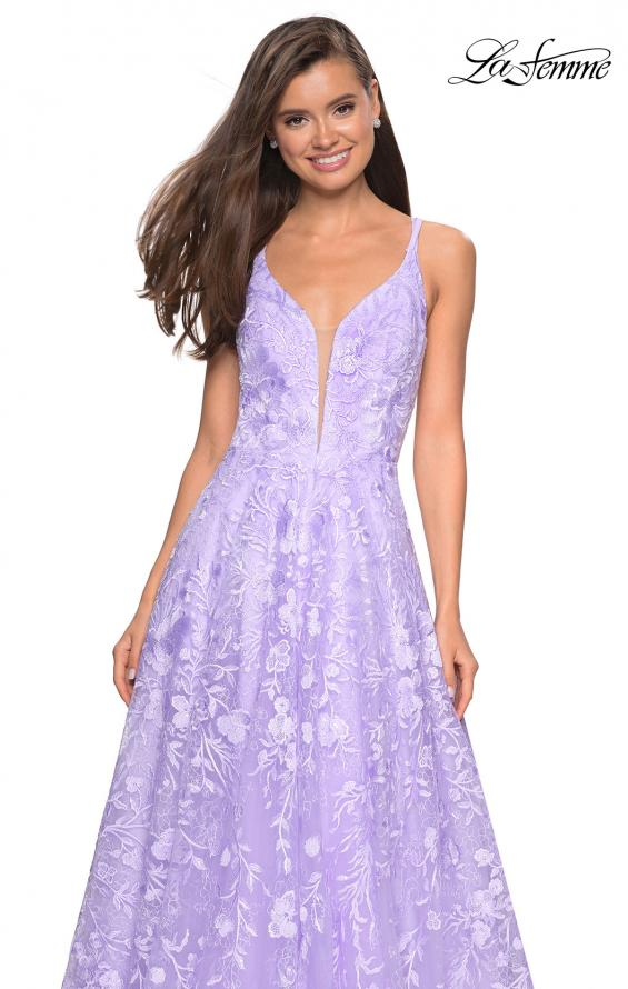 Picture of: Pastel A-Line Floral Prom Dress with Strappy Back in Lavender, Style: 27759, Detail Picture 1