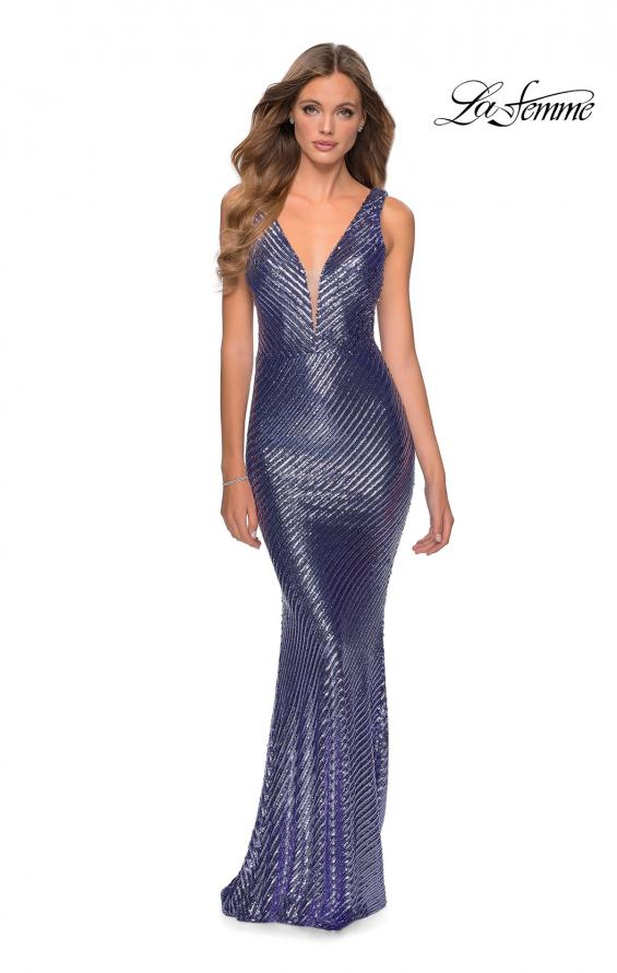 Picture of: Long Sequin Evening Gown with V Shaped Back in Lavender, Style: 28570, Detail Picture 1