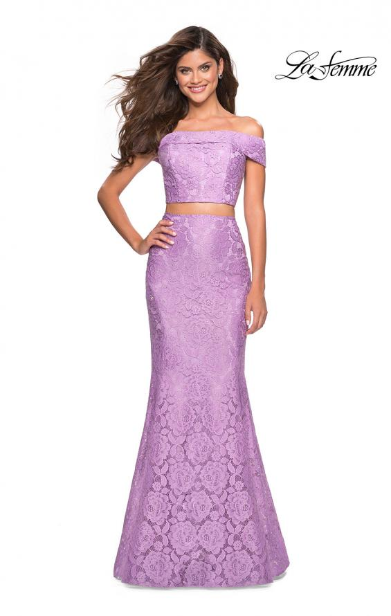 Picture of: Lace Two Piece Off the Shoulder Dress with Rhinestones in Lavender, Style: 27443, Detail Picture 2