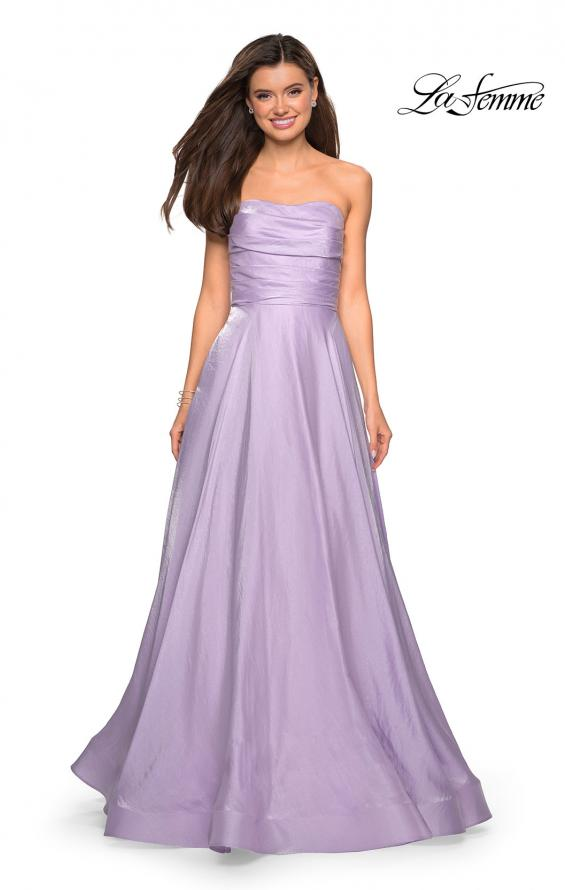 Picture of: Strapless Satin Gown with Ruching and Pockets, Style: 27130, Detail Picture 3