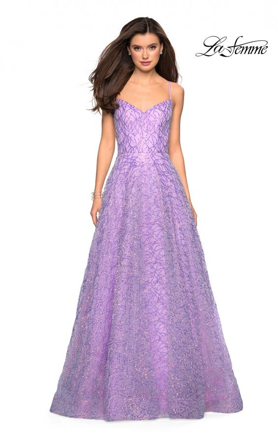Picture of: Sweetheart Sequin Dress with Criss Cross Straps in Lavender, Style: 27541, Detail Picture 3