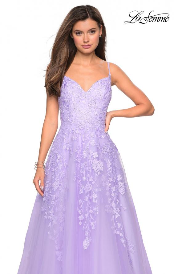 Picture of: Floral Embellished A-Line Tulle Prom Dress in Lavender, Style: 27819, Detail Picture 3