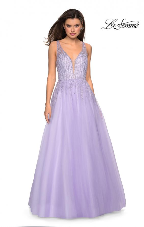 Picture of: A-Line Prom Dress with Rhinestones and Deep V Back, Style: 27688, Detail Picture 4