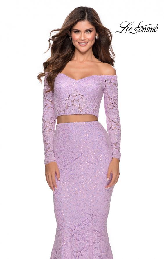 Picture of: Lace Sleeve Lace and Sequin Two Piece Prom Dress in Lavender, Style: 28666, Detail Picture 4