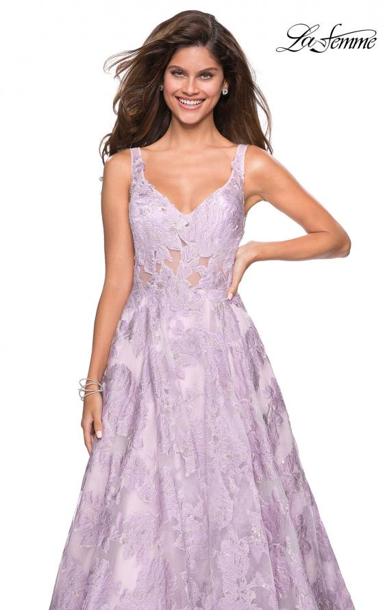 Picture of: Floral A Line Dress with Sheer Bodice and V Back in Lavender, Style: 27505, Detail Picture 5