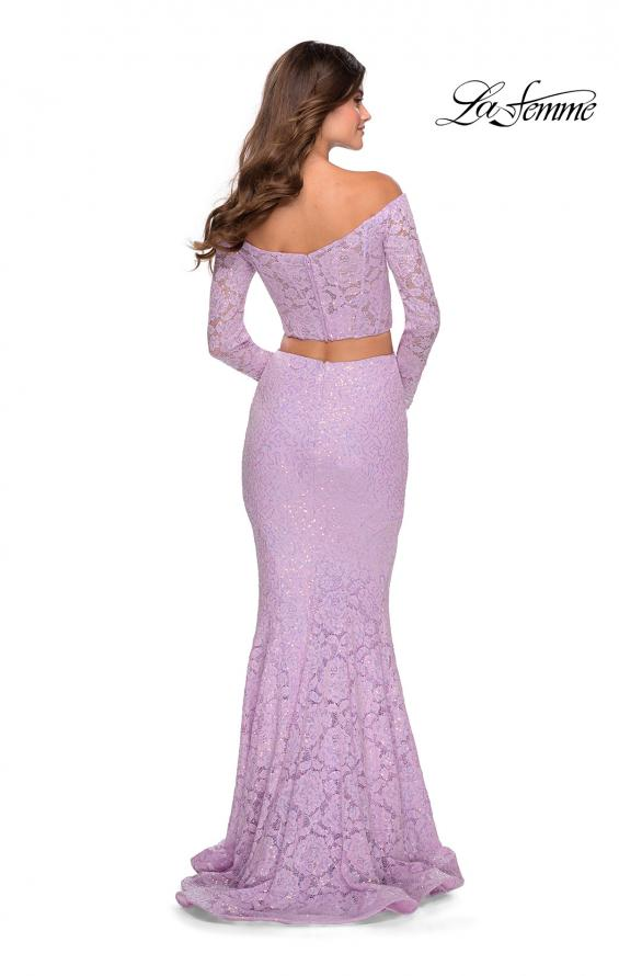 Picture of: Lace Sleeve Lace and Sequin Two Piece Prom Dress in Lavender, Style: 28666, Detail Picture 5
