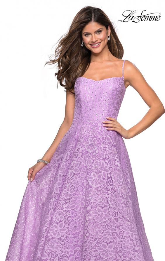 Picture of: Long Lace Organza Sweetheart Neckline Gown in Lavender, Style: 27190, Detail Picture 6