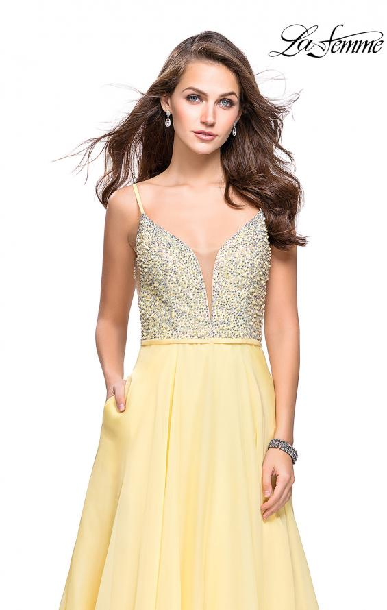 Picture of: A-line Chiffon Prom Gown with Pearl Beaded Bodice in Lemon, Style: 26278, Detail Picture 2