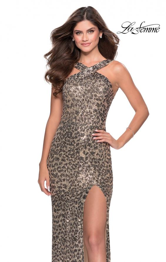 Picture of: Sequin Leopard Print Dress with Criss Cross Neck in Leopard, Style: 28672, Main Picture