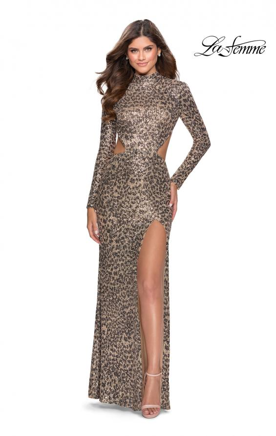 Picture of: Long Sleeve Sequin Leopard Print Dress with Cutouts in Leopard, Style: 28667, Detail Picture 1
